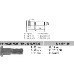 Perno Rueda Chev / GM C20 Delantero 12 X 36 X 1.50 Estria 14