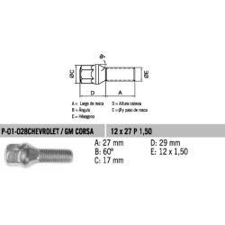 Perno Conico VW-Golf Chev-Corsa 12 X 27 X 1.50 Hex 17