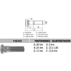 Perno Rueda Ford Pointer / Mondeo 12 X 39 X 1.50 Estria 12.9