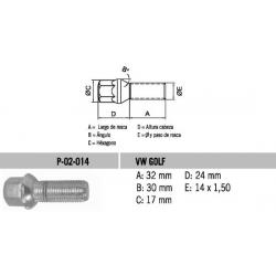 Perno Conico VW-Golf Tipo Bola 14 X 32 X 1.50 Hex 17
