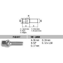 Perno Conico VW Tipo Bola-Largo 12 X 36 X 1.50 Hex 17