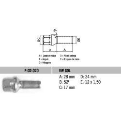 Perno Conico VW-Gol Tipo Bola 12 X 28 X 1.50 Hex 17