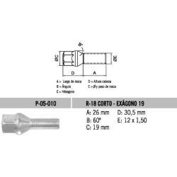 Perno Conico 12 X 26 X 1.50 Hex 19