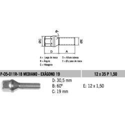 Perno Conico 12 X 35 X 1.50 Hex 19