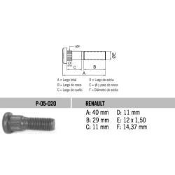 Perno Rueda Renault 12 X 40 X 1.50 Estria 14.37