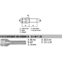 Perno Conico Peugeout 405 12 X 48 X 1.25 Glav/Crom Hex 19