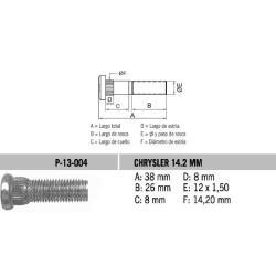 Perno Rueda Chrysler 12 X 38 X1.50 Estria 14.2