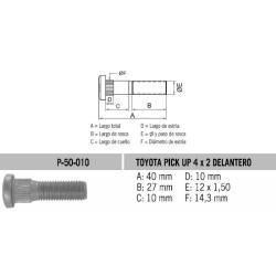 Perno Rueda Toyota San Remo 12 X 40 X 1.50 Estria 14.3