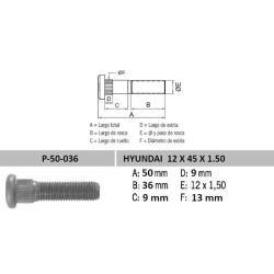 Perno Rueda Hyundai 12 X 45 X 1.50 Estria 13