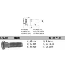 Perno Rueda Nissan Sentra-Great Wall 12 X 40 X 1.25 Estria 14.3