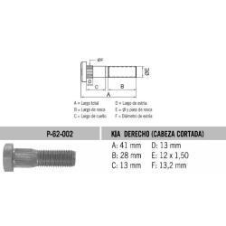 Perno Rueda Kia Rio Cab. Cort. 12 X 41 X 1.50 Estria 13.2