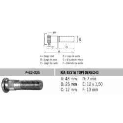 Perno Rueda Kia Sportage-Besta 12 X 43 X 1.25 Estria 13