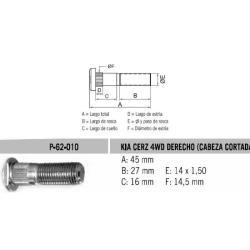 Perno Rueda Kia Pregio 4Wd Der 14 X 45 X 1.50 Estria 14.5