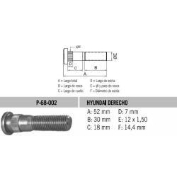 Perno Rueda Hyundai Derecho 12 X 52 X 1.50 Estria 14.4