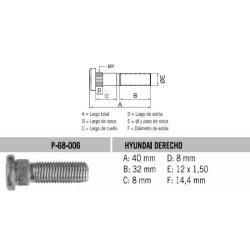 Perno Rueda Hyundai Derecho 12 X 40 X 1.50 Estria 14.4