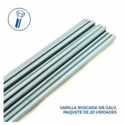 Varilla Roscada Galv ASTM A307 Grado A 3/8 x 3 MT - Paquete 20 Unds.